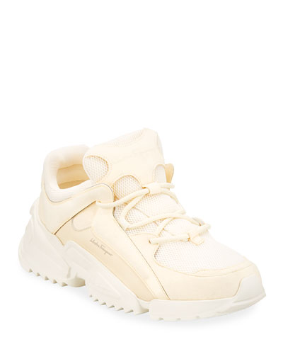 Skylar Mixed Leather Chunky Sneakers