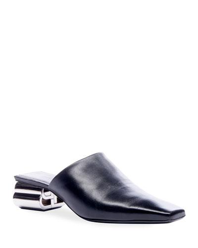 Typo Shiny Leather Mules