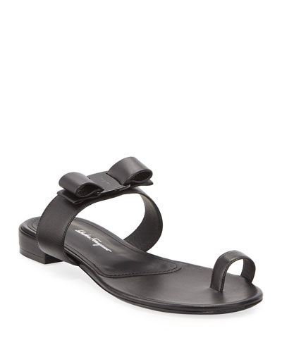 Louisa Toe-Ring Leather Bow Sandals