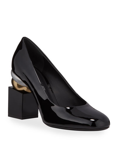 Lilian Patent Leather Pumps with Heel Detail