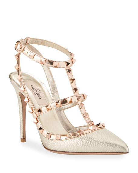 Valentino Garavani Rockstud Metallic Pointed Pumps