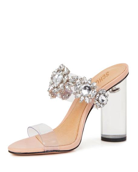 Schutz Blanck See-Through Slide Sandals with Crystals