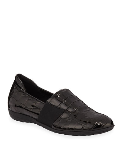 Bria Croc-Embossed Leather Athleisure Flats