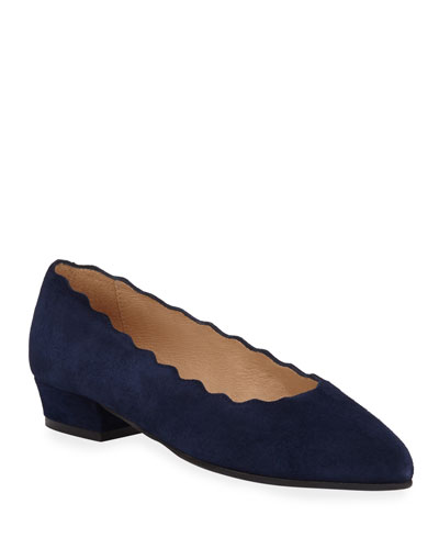 Ally Scalloped Suede Low-Heel Pumps