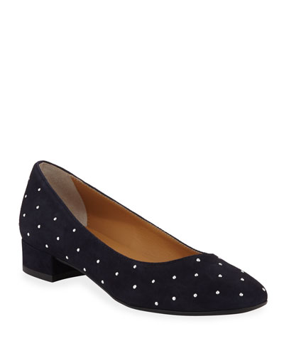 Chasya Studded Suede Low-Heel Pumps