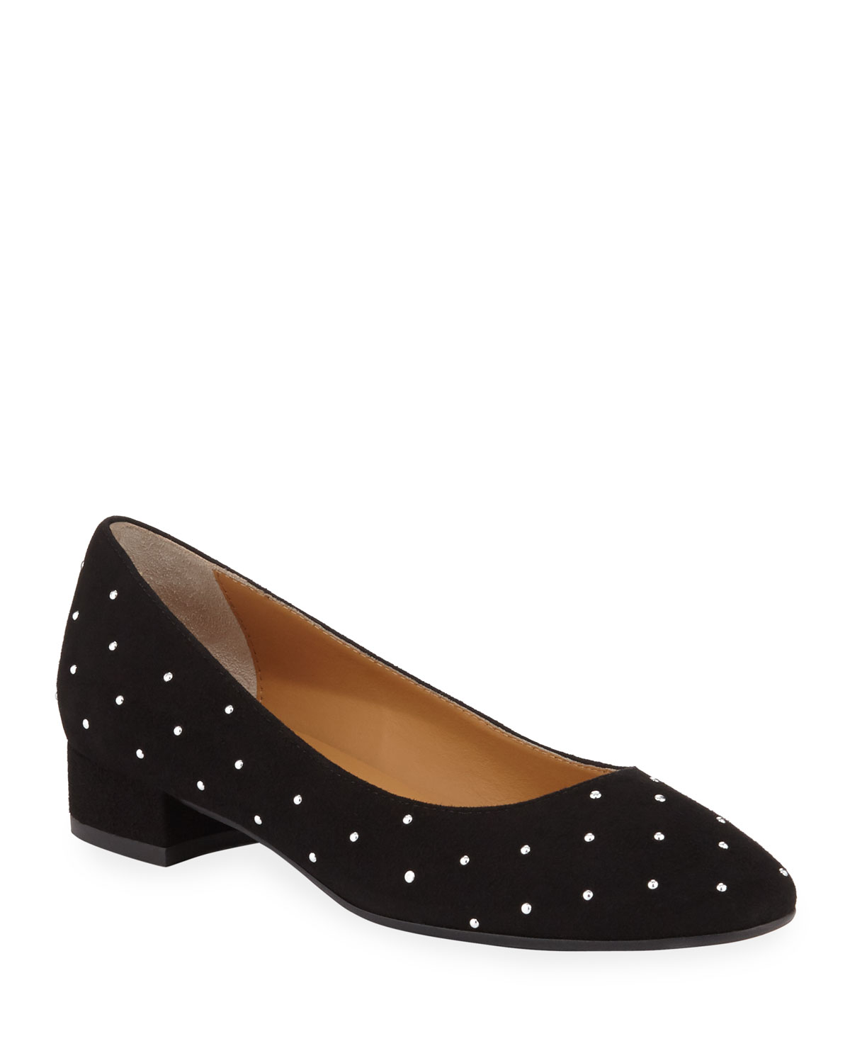 Sesto Meucci CHASYA STUDDED SUEDE LOW-HEEL PUMPS