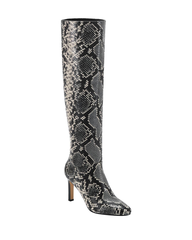 Zadia Snake-Print Knee Boots