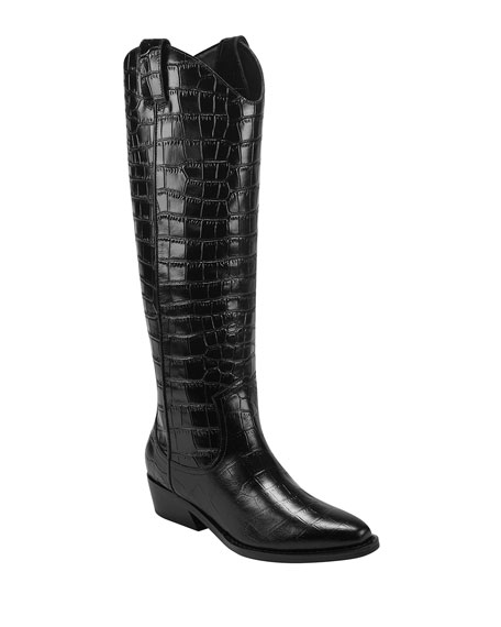 Marc Fisher LTD Haze Croc-Embossed Western Boots