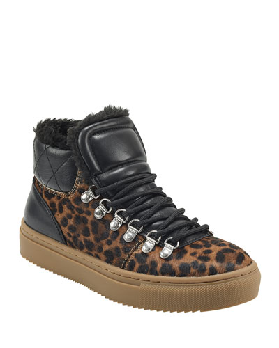 Daisie 2 Leopard and Faux-Fur Sneakers
