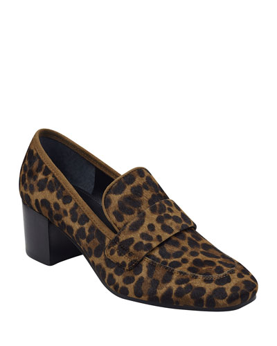 Hudsonly Leopard Calf Hair Dress Loafers