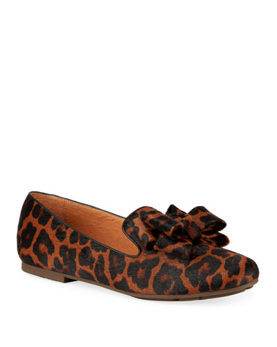 Eugene Ribbon Bow Leopard Loafers