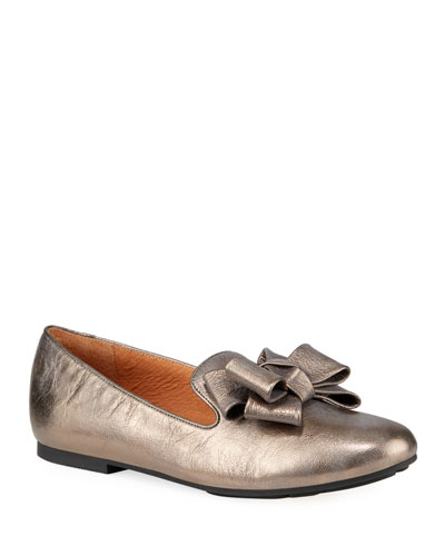 Eugene Metallic Bow Loafers