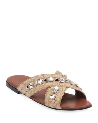 Jeweled Raffia Flat Slide Sandals