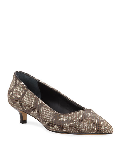 Ibiz Python-Print Leather Kitten Heel Pumps