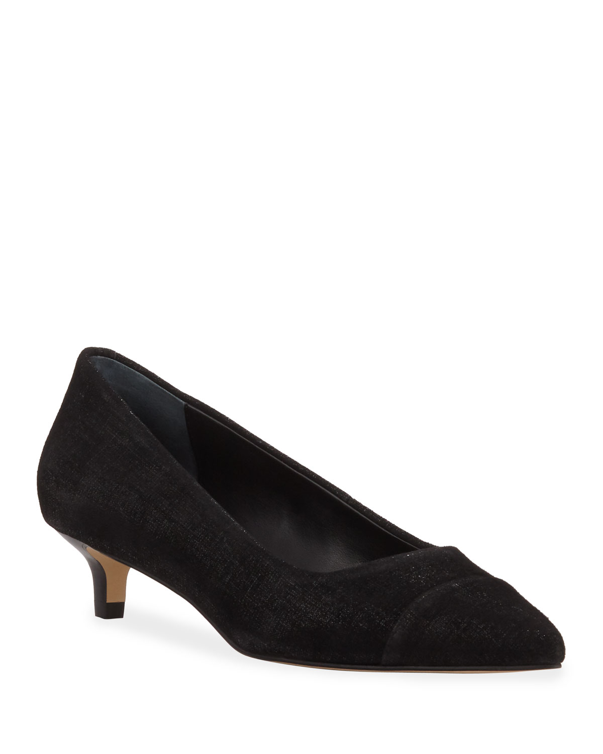 Ibiz Metallic Suede Kitten Heel Pumps