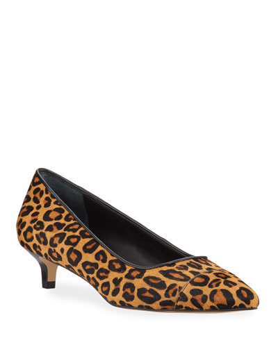 Ibiz Cheetah-Print Kitten Heel Pumps