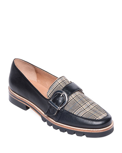 Octavia Check & Leather Buckle Loafer Flats