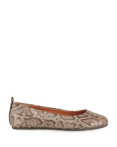 Dana Snake-Print Comfort Ballet Flats