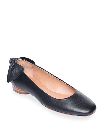 Eloise Leather Bow Ballet Flats