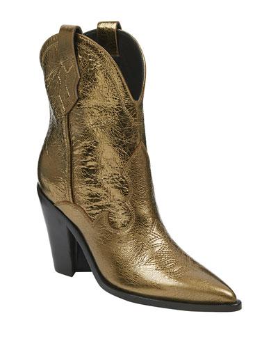 Kalila Metallic Leather Western Booties