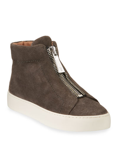 Lena Suede Zip High-Top Sneakers