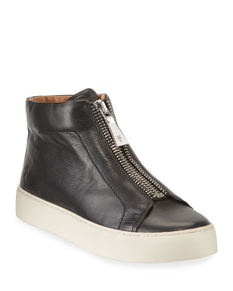 Frye Lena Leather Zip High-Top Sneakers