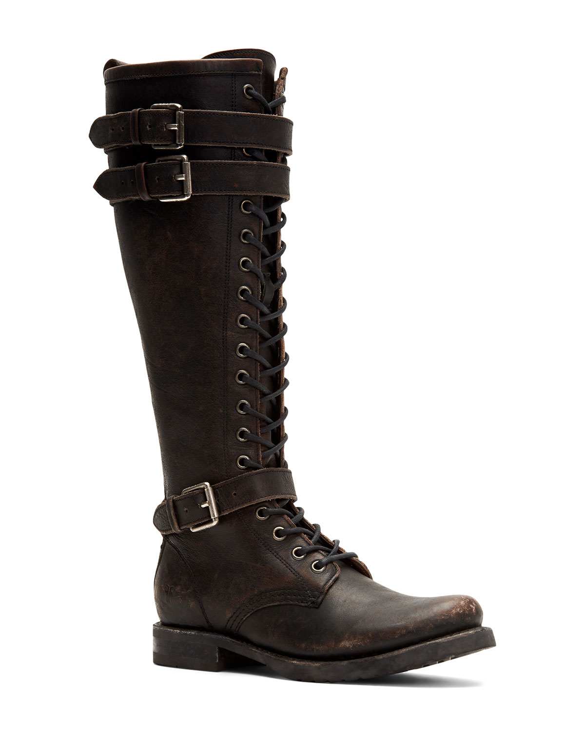 Veronica Rugged Leather Tall Moto Boots