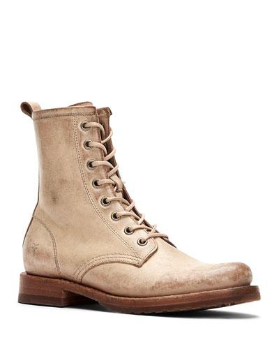 Veronica Rustic Leather Combat Booties