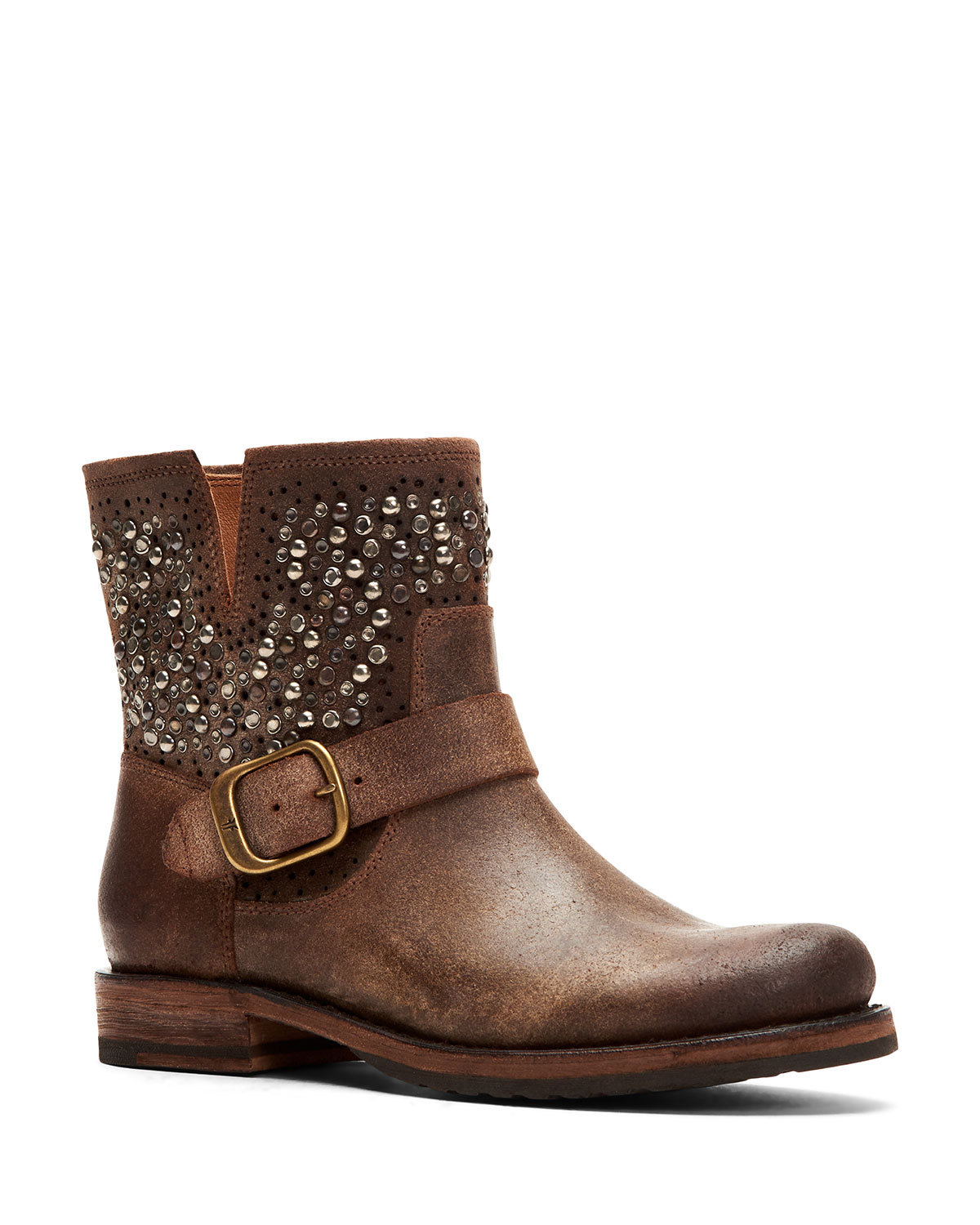 Veronica Beaded Rugged Leather Moto Booties