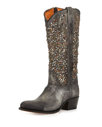 Deborah Studded Vintage Leather Boots, Gray