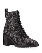 Jimmy Choo Cruz Brocade Lace-Up Booties