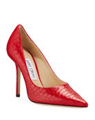 Jimmy Choo Love 100mm Croc-Embossed Leather Pumps