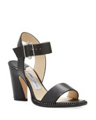 Jimmy Choo Minase Leather Crystal-Trim Sandals