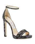 Jimmy Choo Misty Brocade Fabric Sandals
