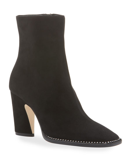 Jimmy Choo Mavin Crystal Stud Suede Booties