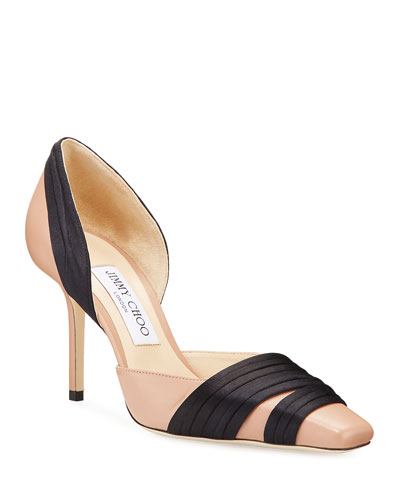 Lyrin Leather and Ribbon Pumps