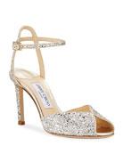 Jimmy Choo Sacora Shimmery Glitter Cocktail Sandals