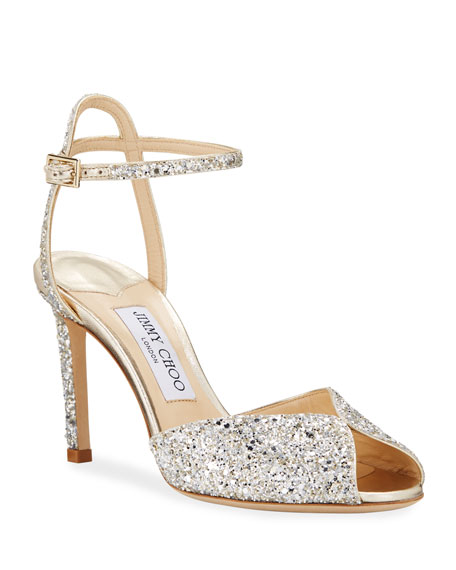 Jimmy Choo Sacora Shimmery Glitter Cocktail Sandals