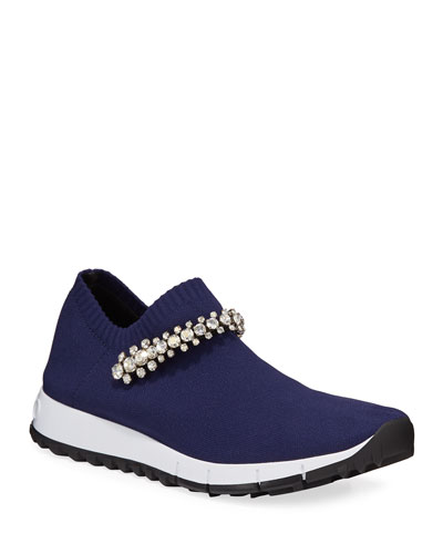 Verona Knit Crystal-Strap Sneakers