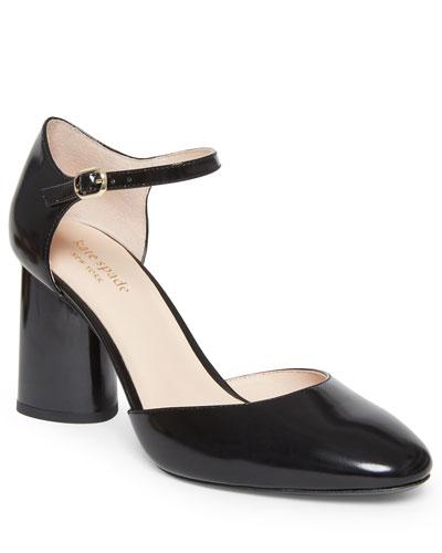 serene leather block-heel pumps