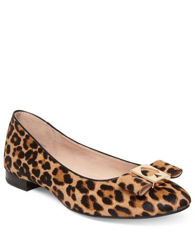 maline leopard bow ballet flats