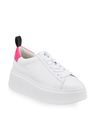 Moon Platform Chunky Sneakers, White/Pink