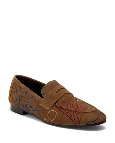 Embroidered Suede Penny Loafers