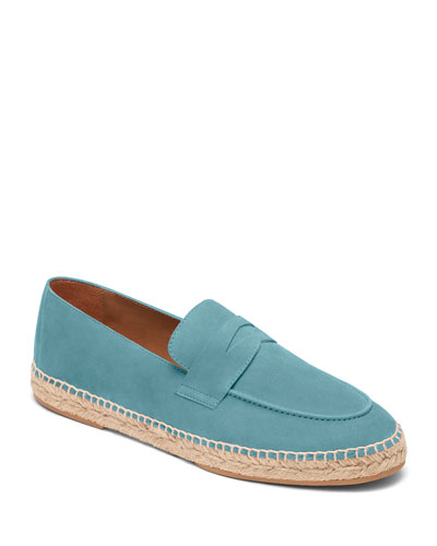 Sky Blue Suede Espadrille Penny Loafers