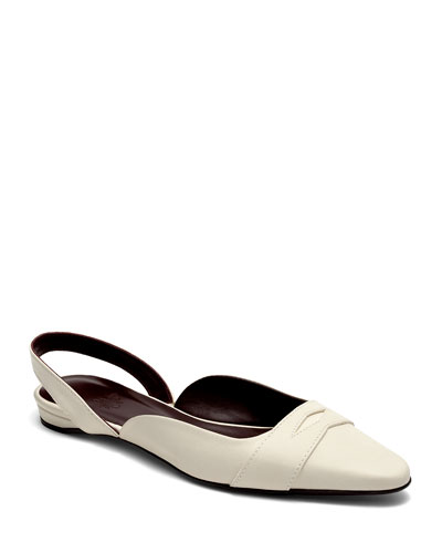 Leather Slingback Ballerina Flats