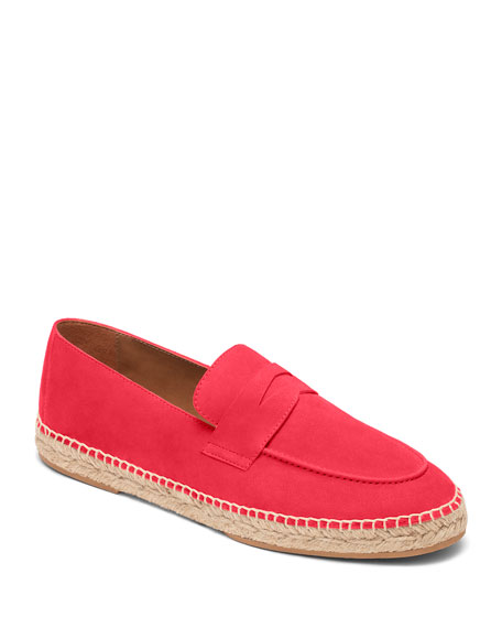 Bougeotte Hibiscus Suede Espadrille Penny Loafers