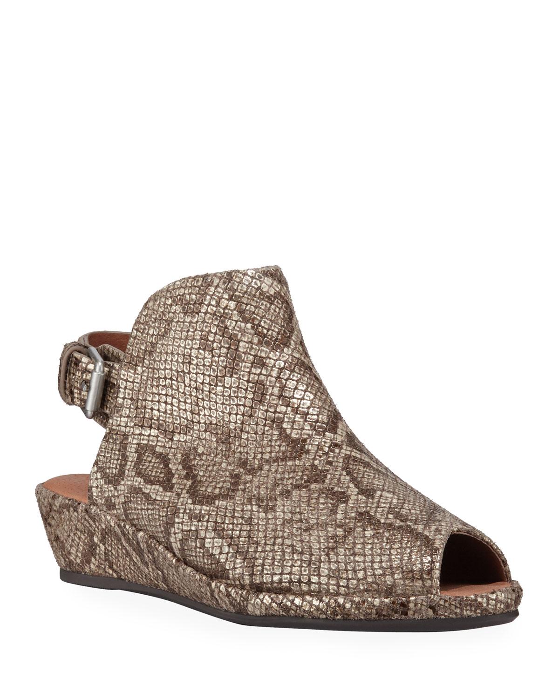Lyla Embossed Leather Peep-Toe Wedge Sandals