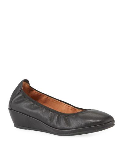 Natalie Leather Comfort Wedge Ballet Flats