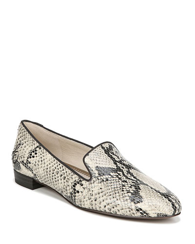 Jordy Snake-Print Leather Loafers