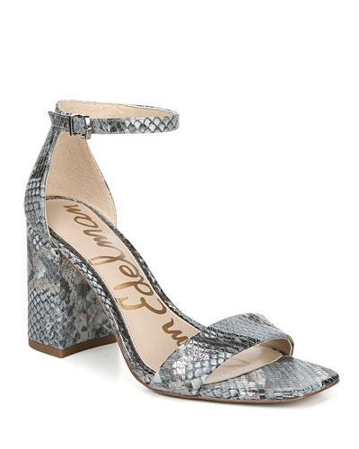 Daniella Snake-Print Ankle Sandals